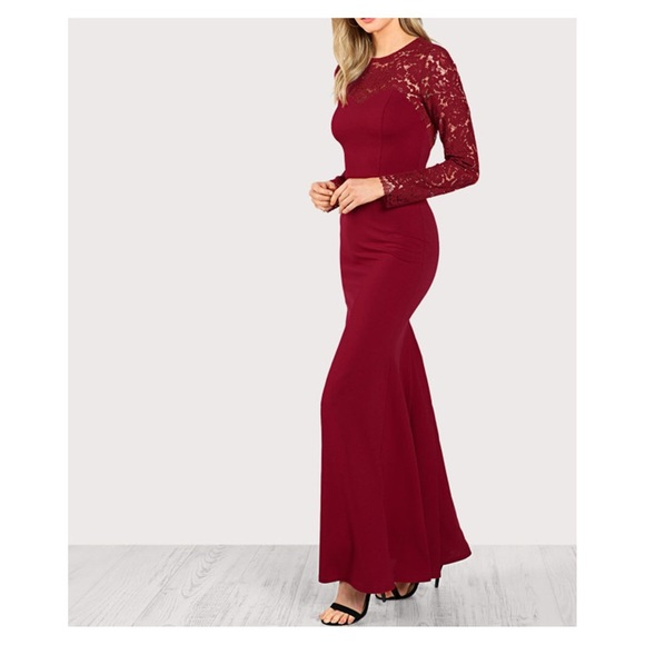 488db3ba51b Burgundy Red Long Sleeve Lace Backless Maxi Dress.  M 5b19795c8ad2f919542c3b23